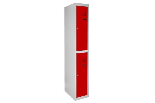라커룸용 빨간색 락커. 체인지 룸 메탈 박스 그레이