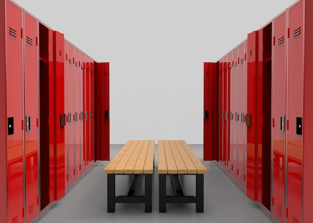 Red lockers rows separated by a wooden bench