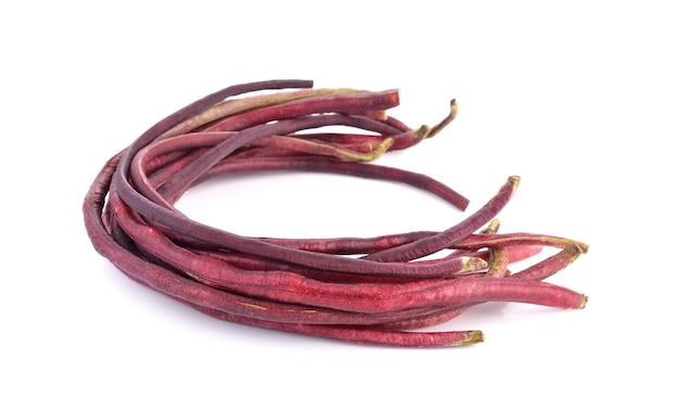 Red long bean on white