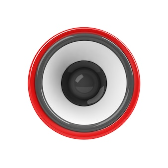 Red loudspeaker isolated Premium Photo