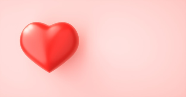 Red love heart on pink paper background with copy space. 3d render
