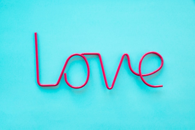 Red love writing on blue