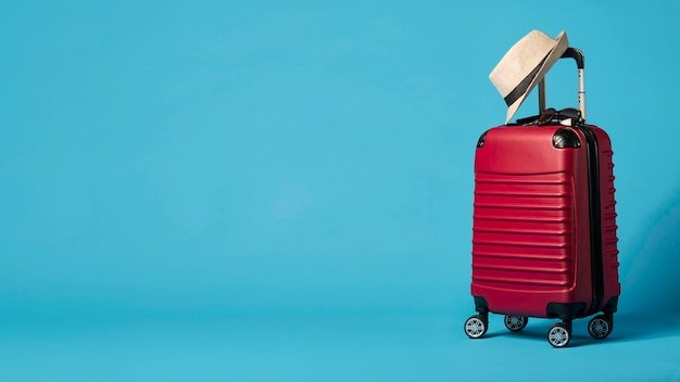 Red luggage with copy-space