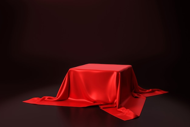 Red luxurious fabric placed on top pedestal or blank podium shelf on black wall with luxury concept. 3d rendering.