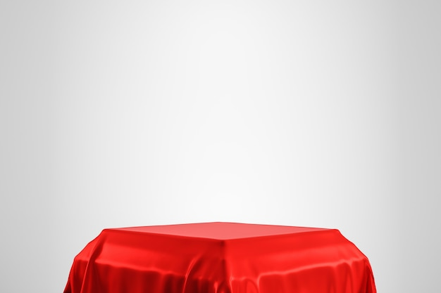 Red luxurious fabric placed on top pedestal or blank podium shelf on white wall with luxury concept. 3d rendering.
