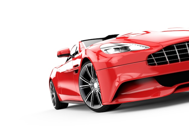 Red luxury car isolated on white