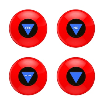 Red magic ball with different prediction on a white background. 3d rendering