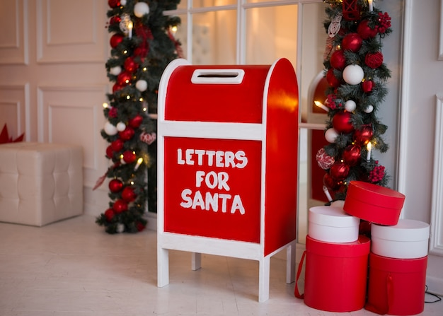 Red mailbox for letters to santa claus.