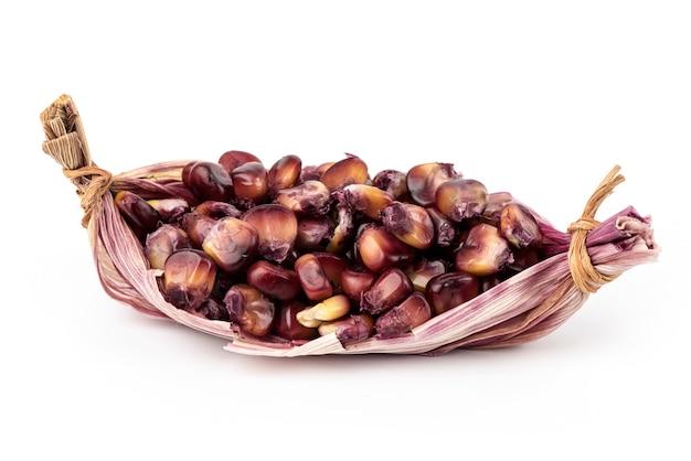 빨간 옥수수 또는 옥수수 과일과 씨앗 흰색 절연.