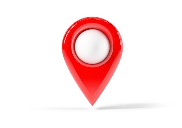 Красная точка карты, расположение булавки, изолированные на белом фоне