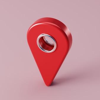ピンクの地面に赤い地図ポインターピン。 3 dレンダリング図