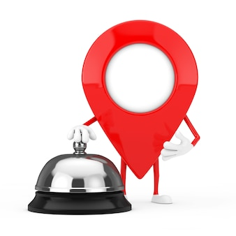 Red map pointer target pin character mascot with hotel service bell call on a white background. 3d rendering