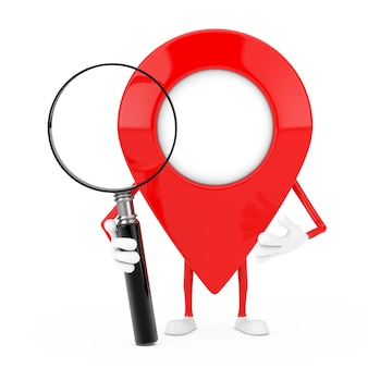 Red map pointer target pin character mascot with magnifying glass on a white background. 3d rendering