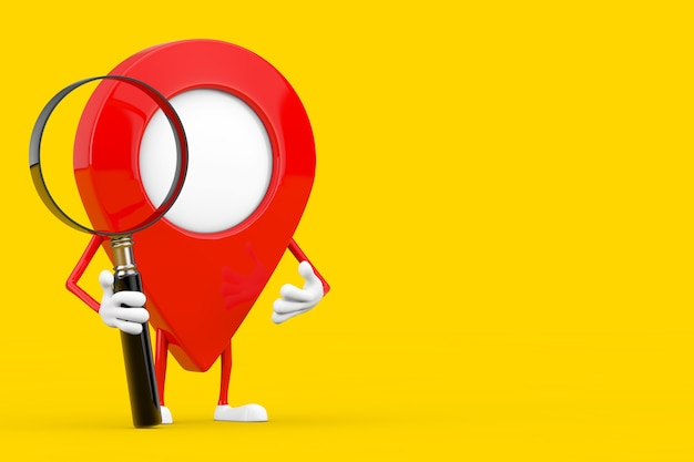 Red map pointer target pin character mascot with magnifying glass on a yellow background. 3d rendering
