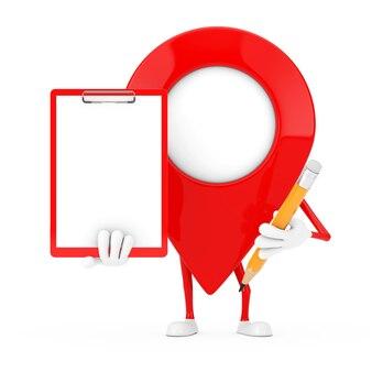 흰색 바탕에 빨간색 플라스틱 클립보드, 종이, 연필이 있는 빨간색 지도 포인터 대상 핀 캐릭터 마스코트. 3d 렌더링