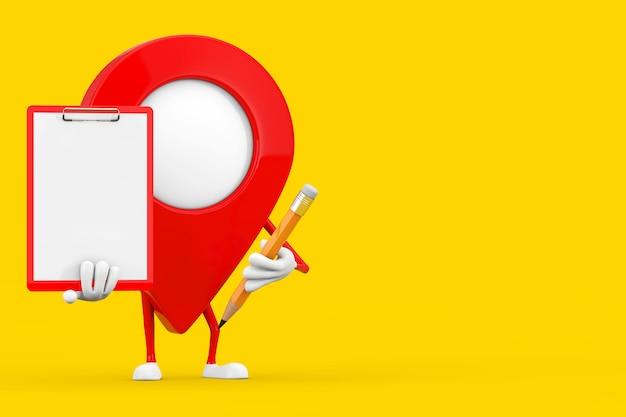 노란색 배경에 빨간색 플라스틱 클립보드, 종이 및 연필이 있는 빨간색 지도 포인터 대상 핀 캐릭터 마스코트. 3d 렌더링