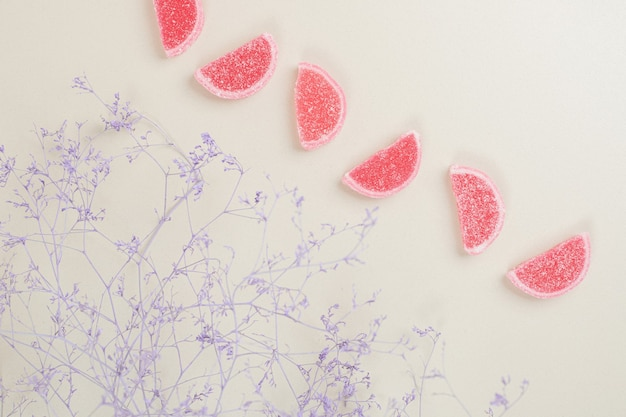 Red marmalade candies on surface with plant