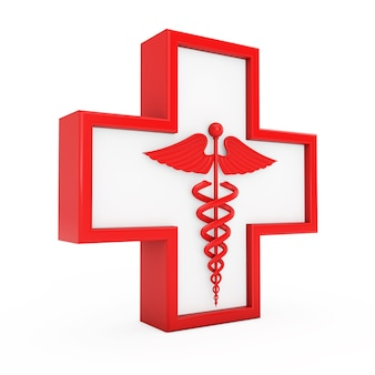 Красный медицинский символ кадуцей в кресте на белом фоне. 3d рендеринг