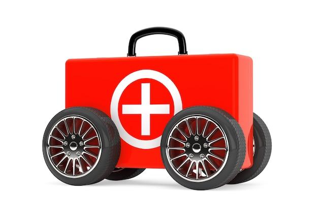 Красный медицинский чемодан на колесах на белом фоне