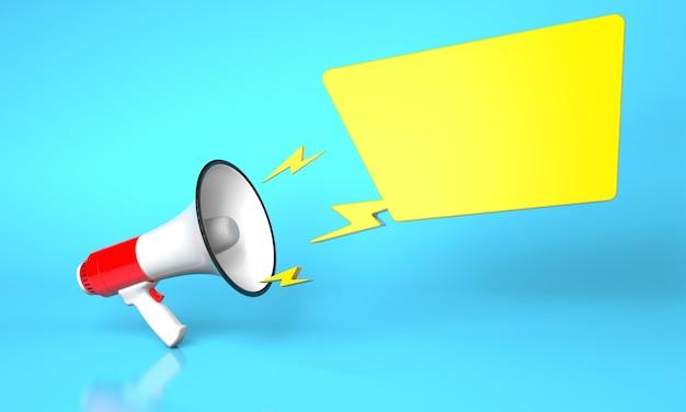 Красный громкоговоритель мегафона и желтый пузырь на синем фоне. шаблон пустой. 3d визуализация.