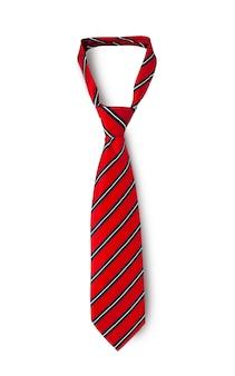 赤いメンズストライプネクタイ。白い背景で隔離。クリッピングパス付き。