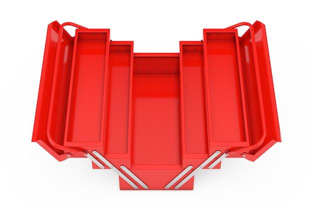 Красный металлический классический ящик для инструментов на белом фоне. 3d рендеринг