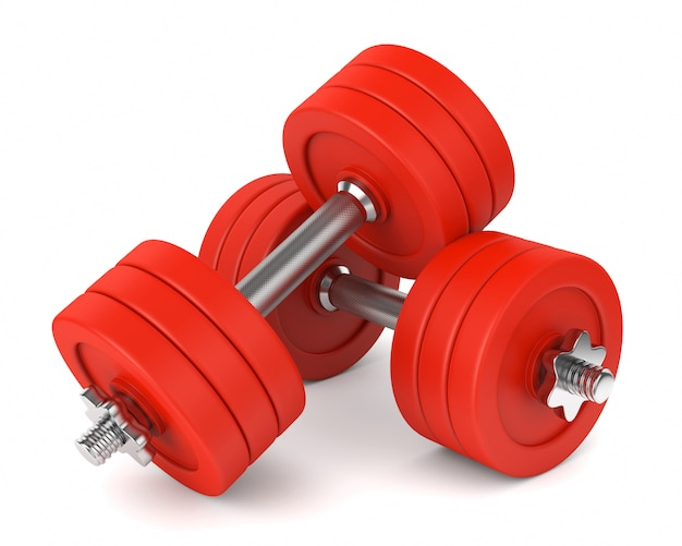 Red metal dumbells