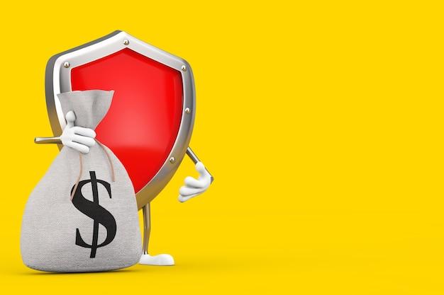 Красный металлический защитный щит характера талисман и связанный деревенский холст льняной денежный мешок или денежный мешок со знаком доллара на желтом фоне. 3d рендеринг