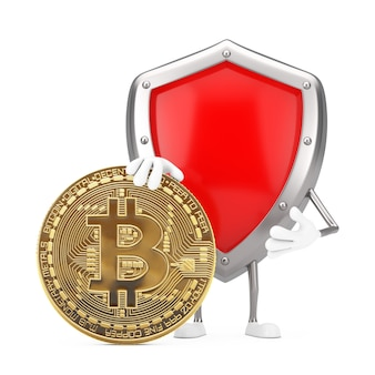 Красный талисман характера щита защиты металла с монеткой биткойн цифров и криптовалютой золотой на белой предпосылке. 3d рендеринг