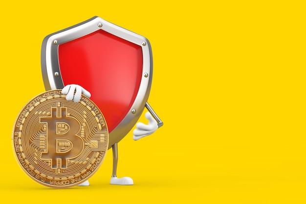 Красный талисман характера щита защиты металла с монеткой биткойн цифров и криптовалютой золотой на желтом фоне. 3d рендеринг