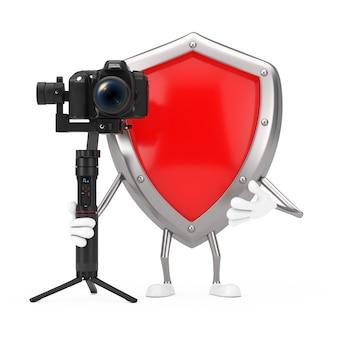 흰색 배경에 dslr 또는 비디오 카메라 짐벌 안정화 삼각대 시스템이 있는 빨간색 금속 보호 방패 캐릭터 마스코트. 3d 렌더링