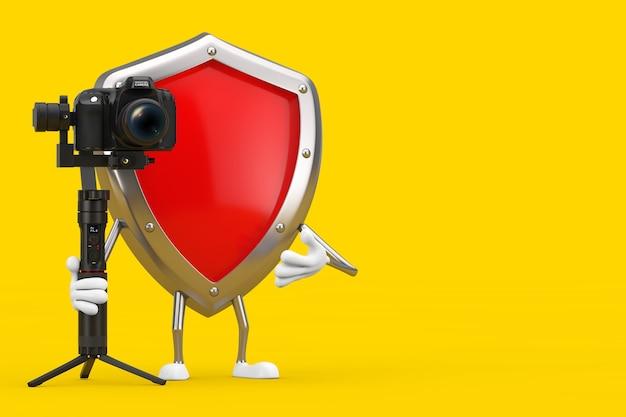 노란색 배경에 dslr 또는 비디오 카메라 짐벌 안정화 삼각대 시스템이 있는 빨간색 금속 보호 방패 캐릭터 마스코트. 3d 렌더링