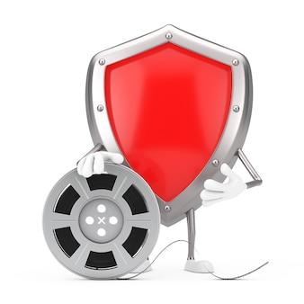 Красный талисман характера щита предохранения от металла с лентой кино вьюрка фильма на белой предпосылке. 3d рендеринг