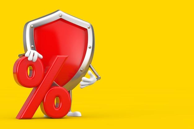 Красный талисман характера экрана защиты металла с красными розничными продажами процентов или знаком скидки на желтой предпосылке. 3d рендеринг