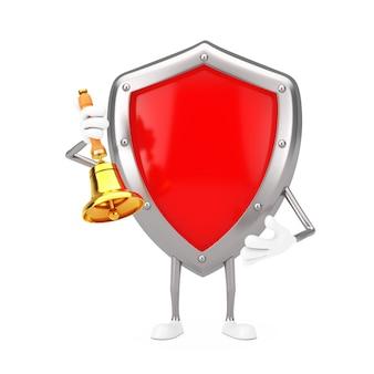 Красный талисман характера щита защиты металла с винтажным золотым школьным колоколом на белой предпосылке. 3d рендеринг