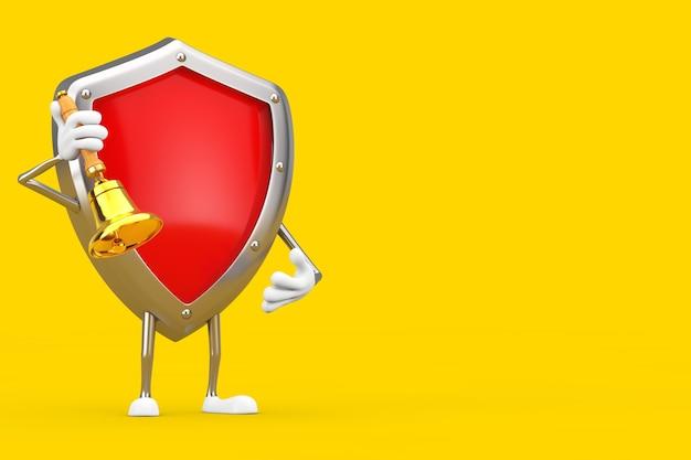 Красный талисман характера щита защиты металла с винтажным золотым школьным колоколом на желтой предпосылке. 3d рендеринг