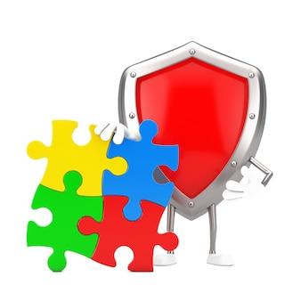흰색 바탕에 다채로운 지그 소 퍼즐의 4 조각으로 빨간 금속 보호 방패 사람 캐릭터 마스코트. 3d 렌더링