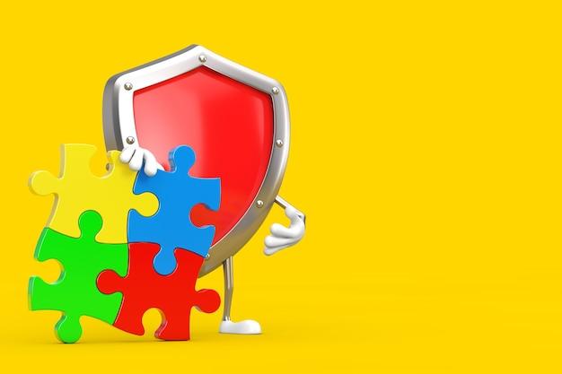 노란색 배경에 화려한 직소 퍼즐 4개 조각이 있는 빨간색 금속 보호 방패 사람 캐릭터 마스코트. 3d 렌더링