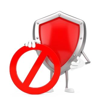 白い背景に赤い禁止または禁止記号が付いた赤い金属保護シールド人物キャラクターマスコット。 3dレンダリング