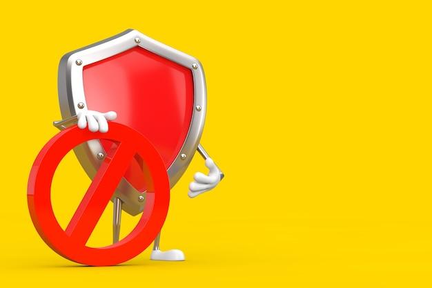 黄色の背景に赤い禁止または禁止記号が付いた赤い金属保護シールド人物キャラクターマスコット。 3dレンダリング