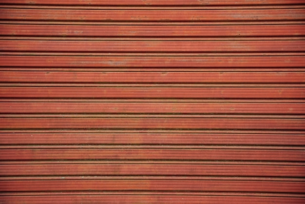 Red metal roller shutter door