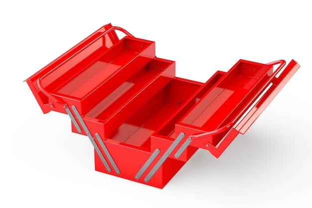 Красный металлический ящик для инструментов на белом фоне