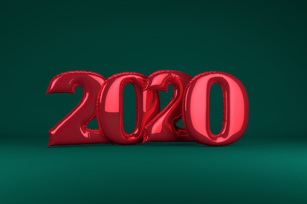 Red metallic inflatable figures 2020 on green . balloons. new year. 3d render, .