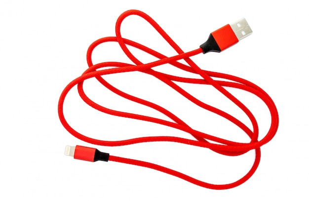 Red micro usb cable for smartphone isolated on white
