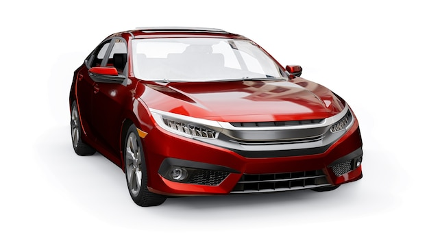 Red mid-size urban family sedan on a white uniform background. 3d rendering.