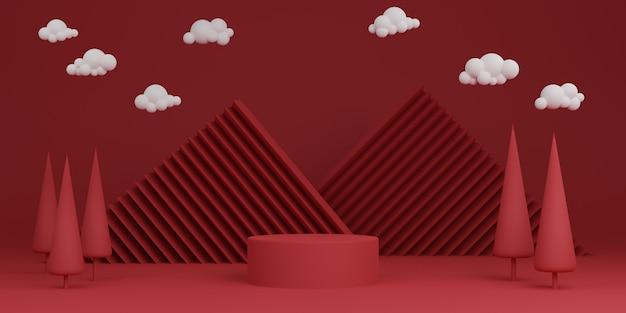 빨간색 최소한의 추상적 인 배경 실린더 연단 기하학적 모양, 제품에 대한 단계. 3d 렌더링