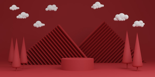 Red minimal abstract background cylinder podium geometric shape, stage for product. 3d rendering