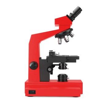 Красный современный лабораторный микроскоп на белом фоне. 3d-рендеринг.