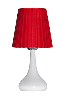Red modern table lamp isolated on white
