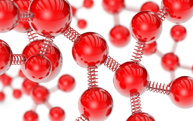 Red molecule and glass coil spring background 3d rendering